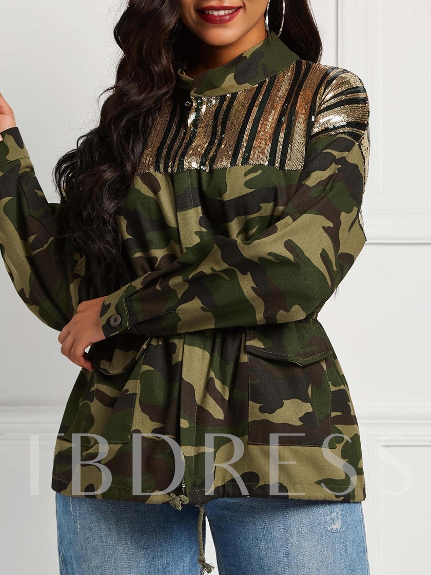 Stand Collar Sequins Camouflage Mid-Length Women's Jacket