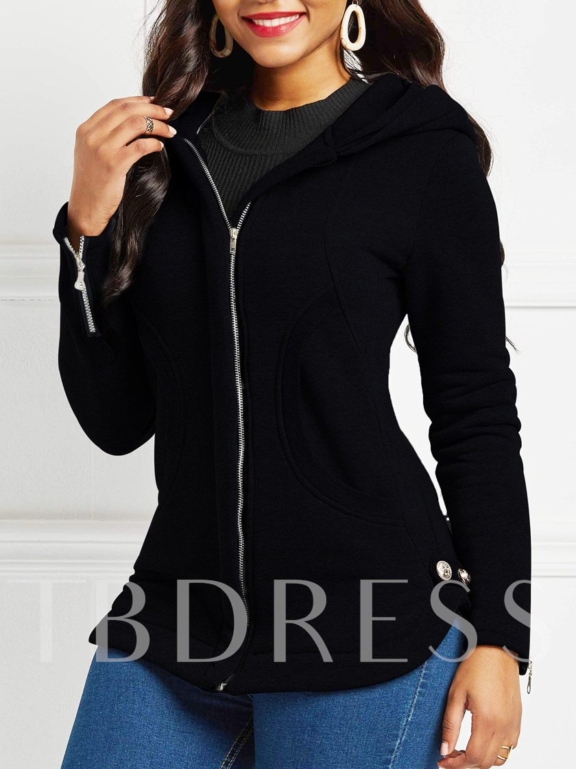 Long Sleeve Slim Zipper Hooded Women's Jacket