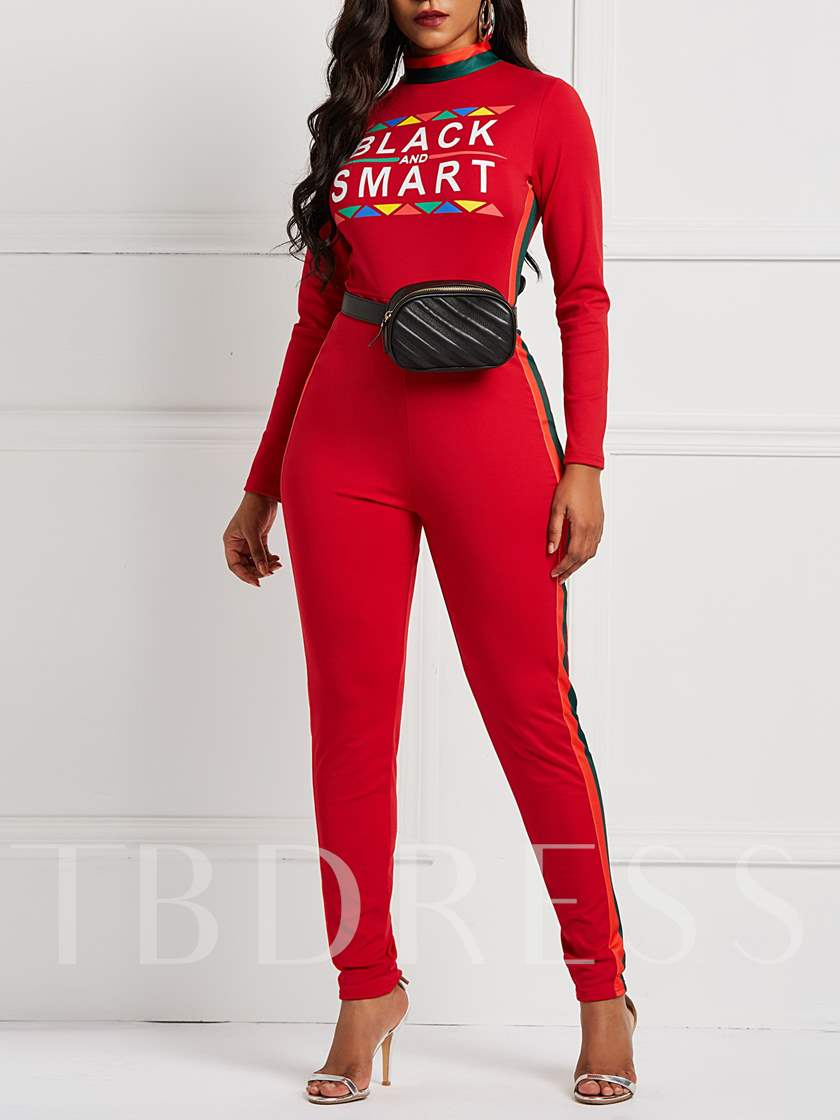 Casual Letter Print Skinny Women's Jumpsuits