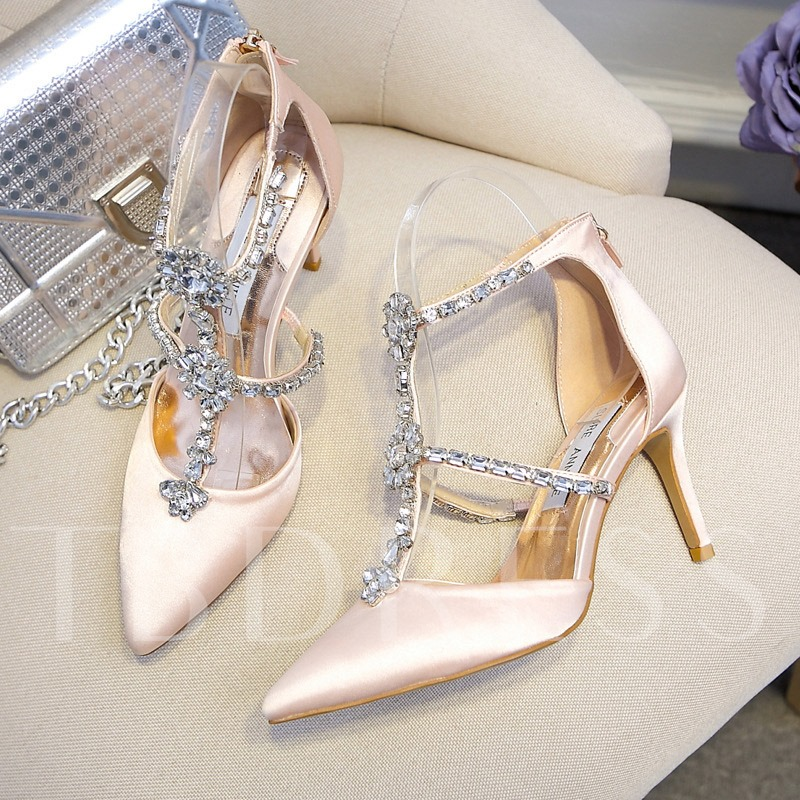 Stiletto Heel Pointed Toe Zipper Rhinestone Women's Wedding Shoes