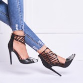Pointed Toe Hollow Stiletto Heel Women's Pumps (Plus Size)