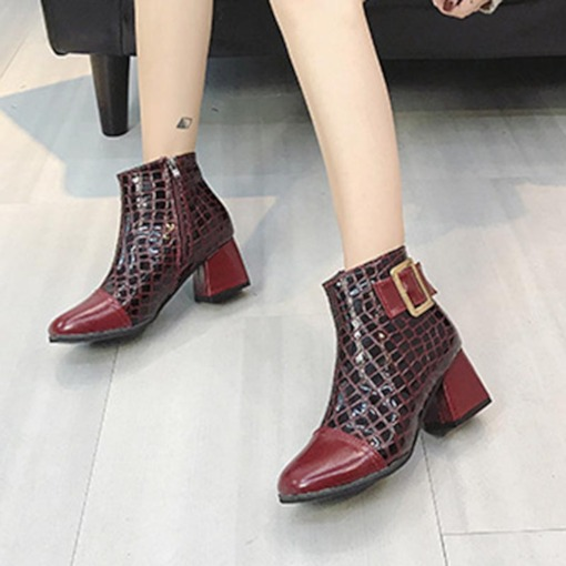 Chunky Heel Side Zipper Square Toe Buckle Chic Women's Ankle Boots