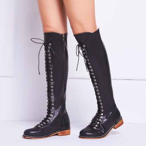 Round Toe Block Heel Lace-Up Front Customized Women's Riding Boots