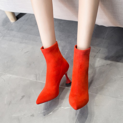 Shaped Heel Plain Pointed Toe Slip-On Casual Unique Ankle Boots