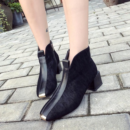 Side Zipper Patchwork Square Toe Chunky Heel Fashion Ankle Boots