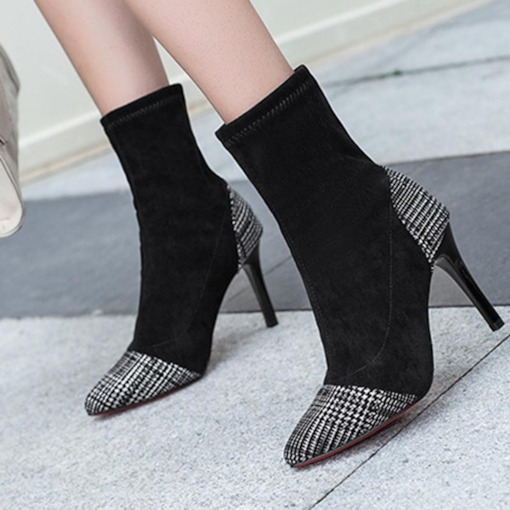 Pointed Toe Stiletto Heel Slip-On Plaid Unique Women's Ankle Boots
