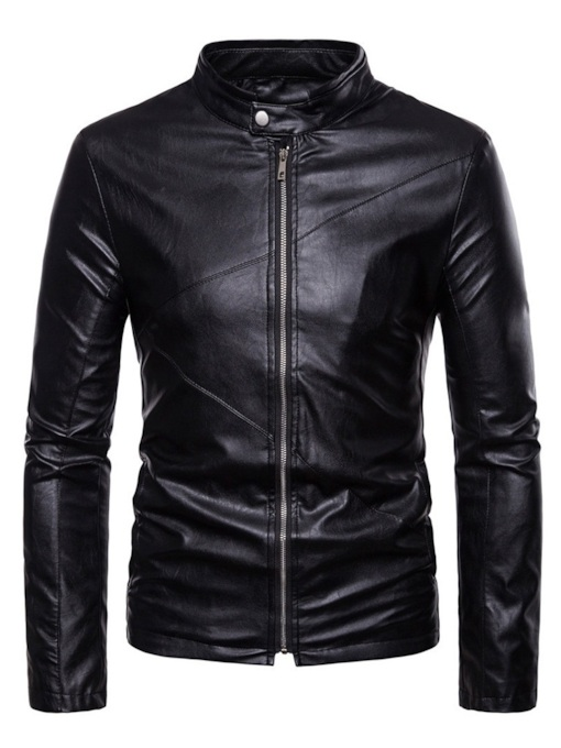 Standard Plain Slim Stand Collar Casual Men's Leather Jacket