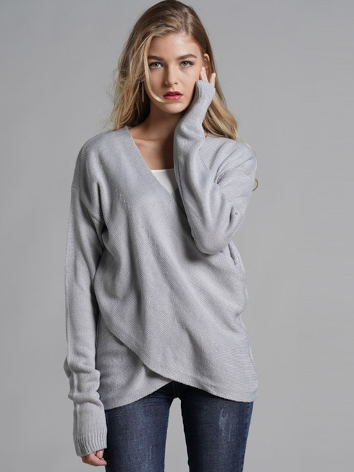 Loose V-Neck Asymmetric Pullover Women's Sweater