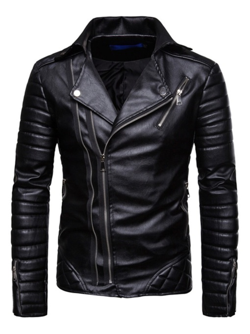 Plain Lapel Slim Fall Casual Men's Leather Jacket