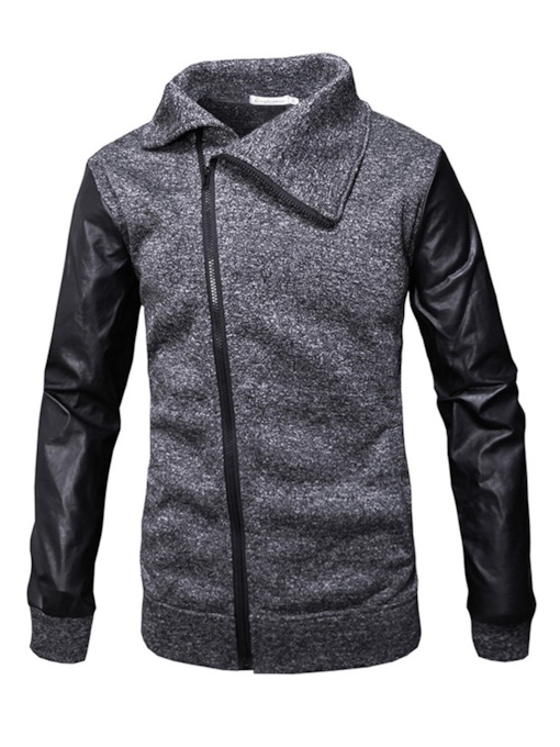 Cardigan Color Block Zipper Lapel Patchwork Men's Jacket
