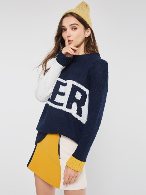 Color Block Letter Print Mid-Length Women's Sweater