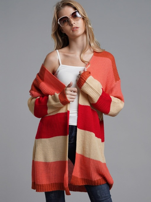 Loose Color Block Mid-Length Women's Cardigan