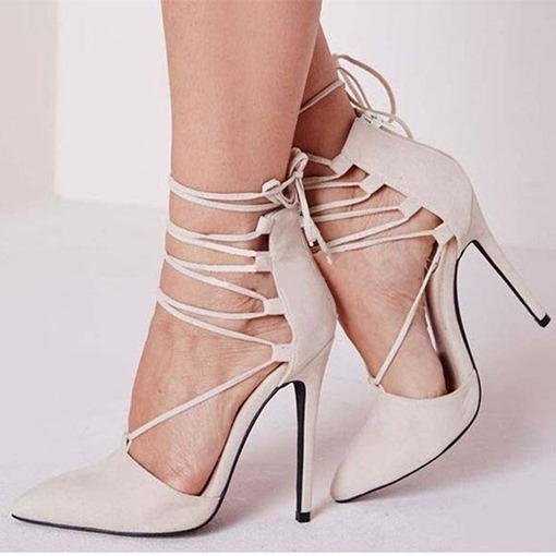 Zipper Stiletto Heel Lace-Up Pointed Toe Customized Women's Pumps