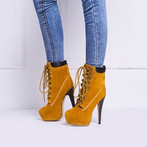 Stiletto Heels Lace-up Nubuck Ankle Boots