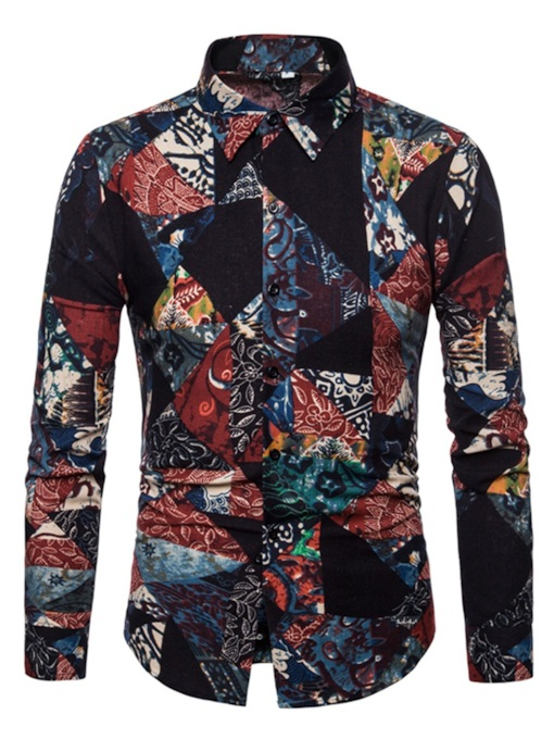 European Lapel Print Slim Men's Shirt