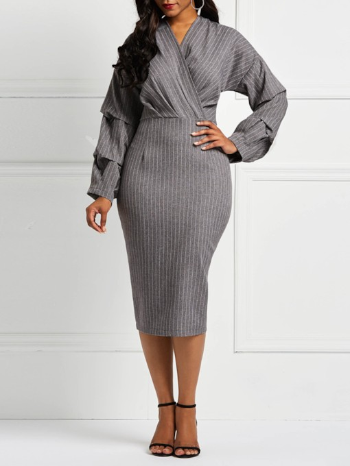 Stripe V-Neck Long Sleeve Women's Bodycon Dress