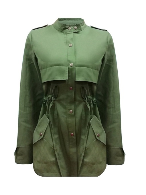Single-Breasted Stand Collar Mid-Length Women's Trench Coat