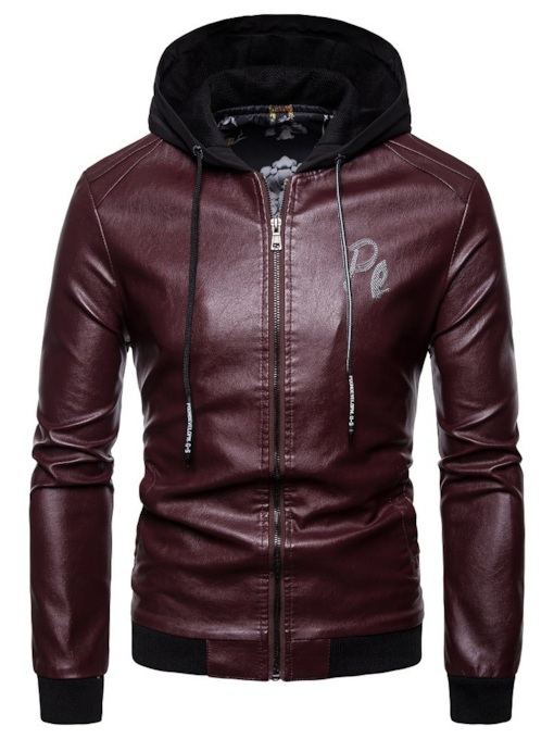 Slim Zippe Hooded Men's Leather Jacket