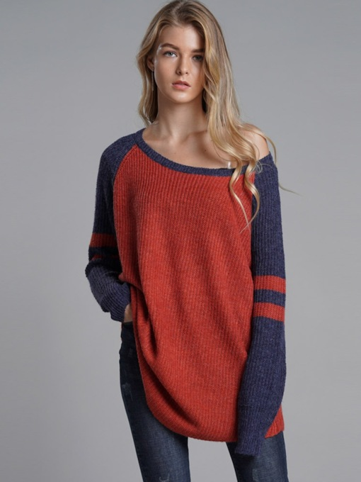 Loose Color Block Mid-Length Raglan Sleeve Women's Sweater
