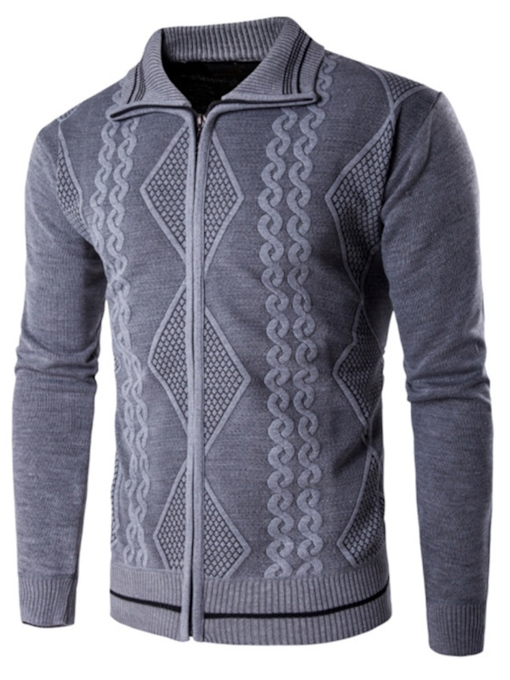 Lapel Plain Slim Zipper Men's Sweater