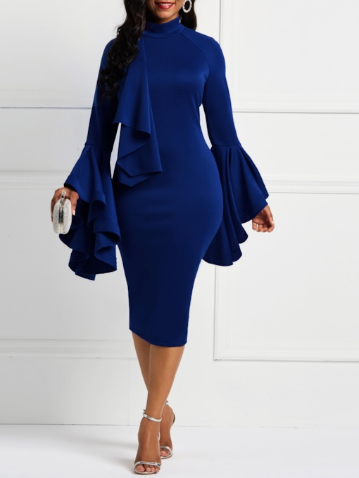 Stand Collar Long Sleeve Patchwork Women's Bodycon Dress