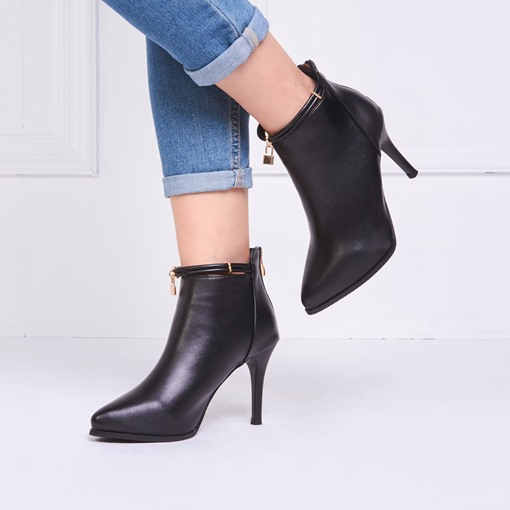 Plain Back Zip Pointed Toe Stiletto Heel Classical Women's Ankle Boots
