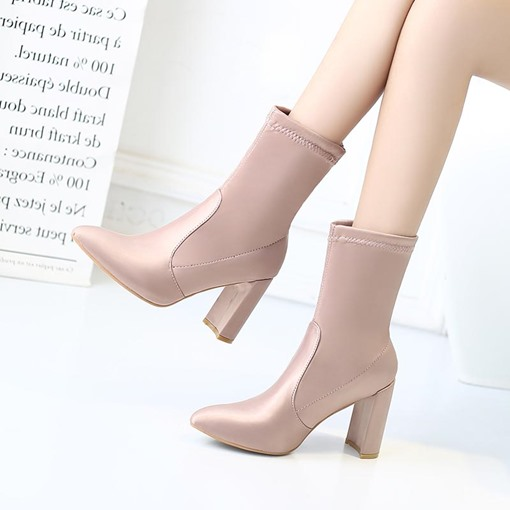 Slip-On Chunky Heel Pointed Toe Plain Fashion Ankle Boots