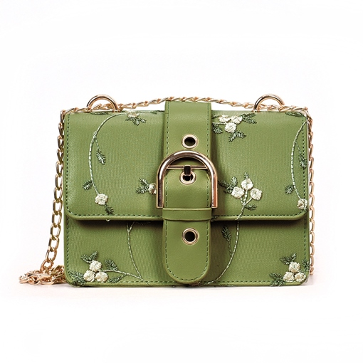 Embroidery Floral Belt Decorated Crossbody Bag