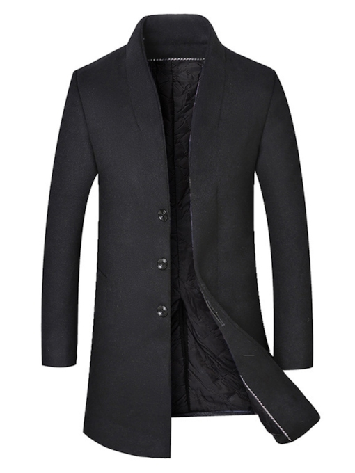 Lapel Slim Mid-Length Plain Single-Breasted Men's Coat