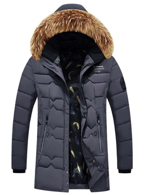 Plain Thick Mid-Length Slim Men's Down Jacket