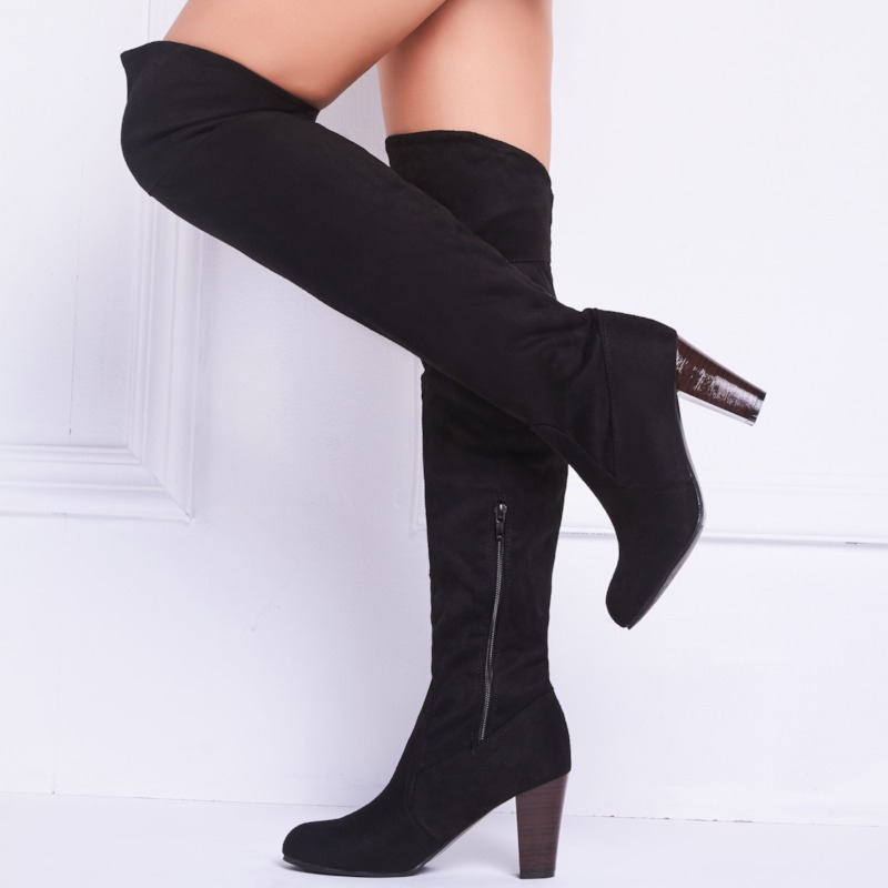 Suede Square Heel Pointed Toe Womens Knee Boots