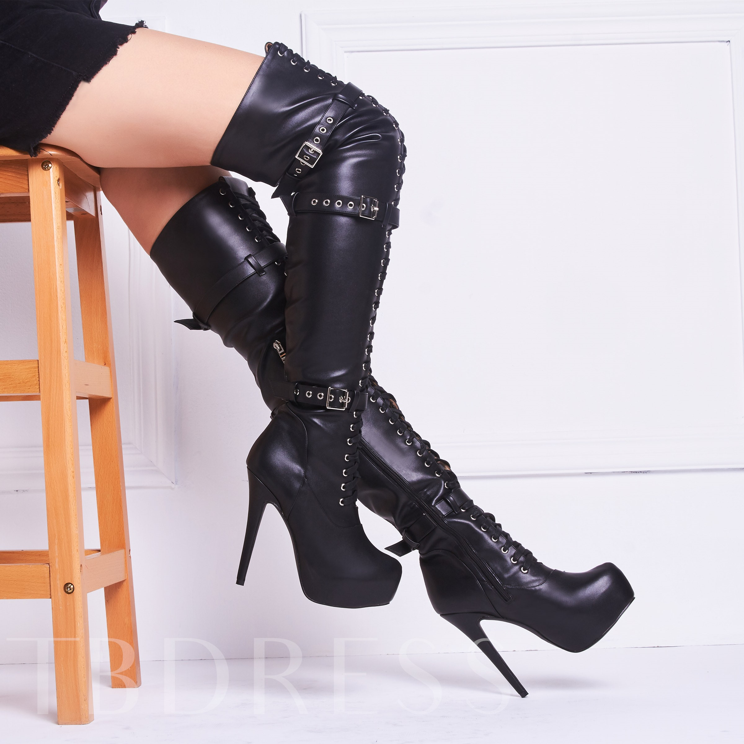 Stiletto Heel Lace-Up Front Round Toe Over-the-Knee Women's Boots
