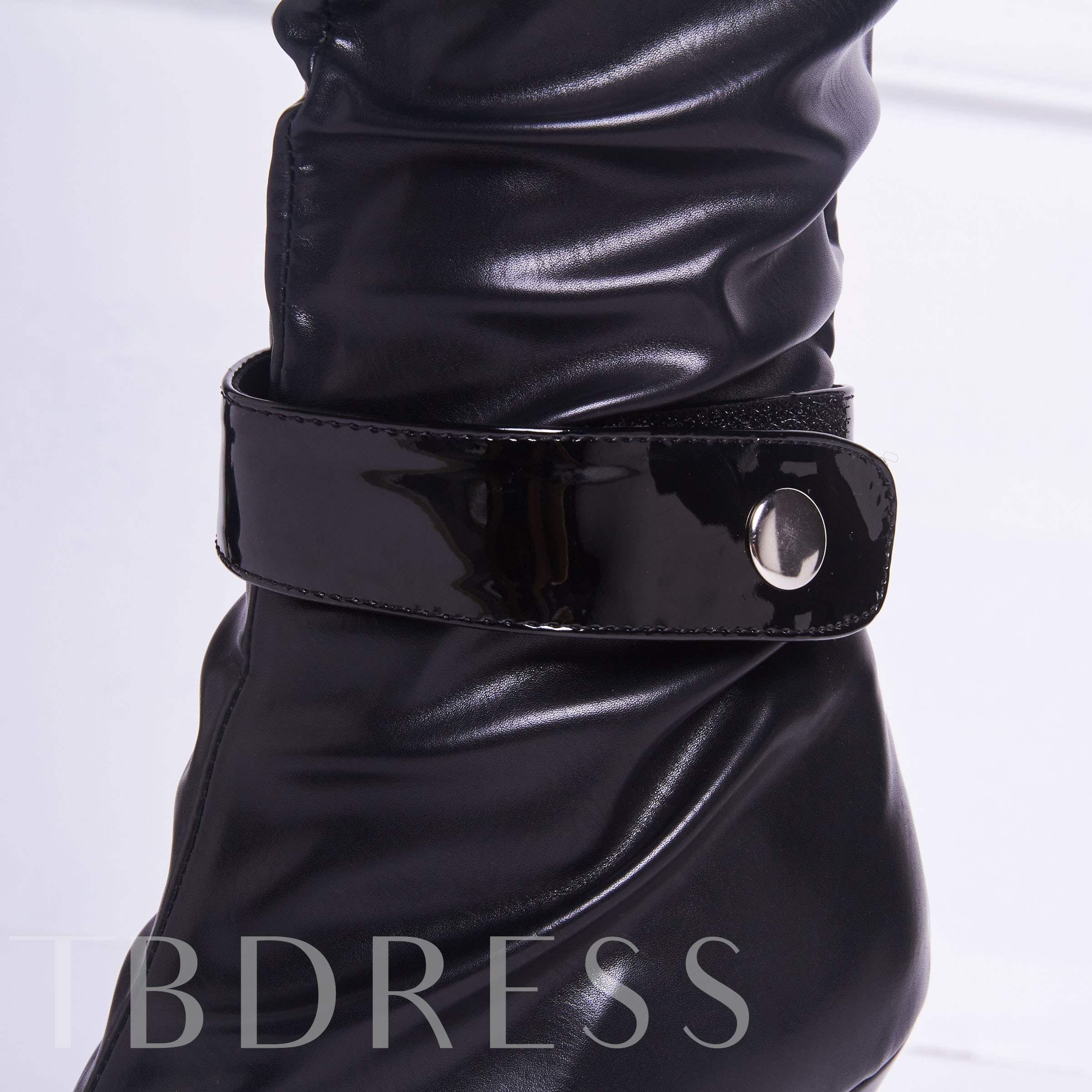 Side Zipper Stiletto Heel Round Toe Buckle Knee-High Women's Boots