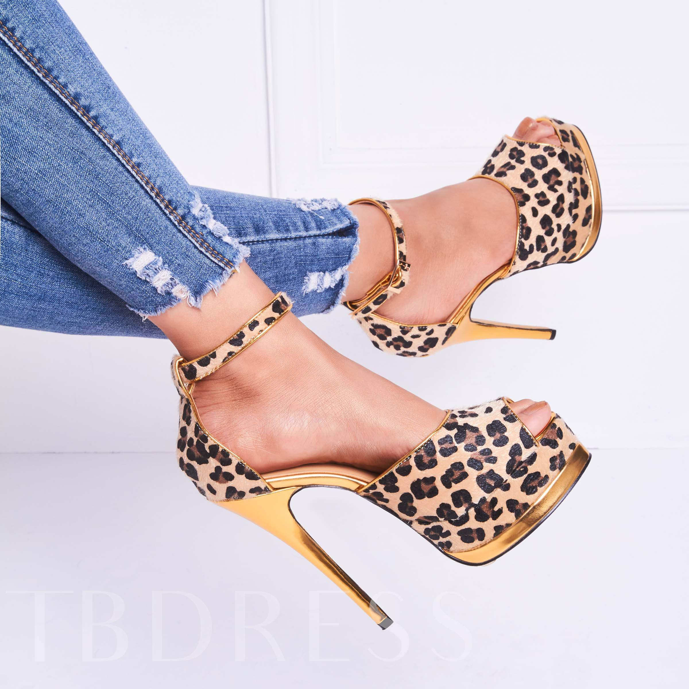 Peep Toe Platform Stiletto Heel Leopard Women's Pumps