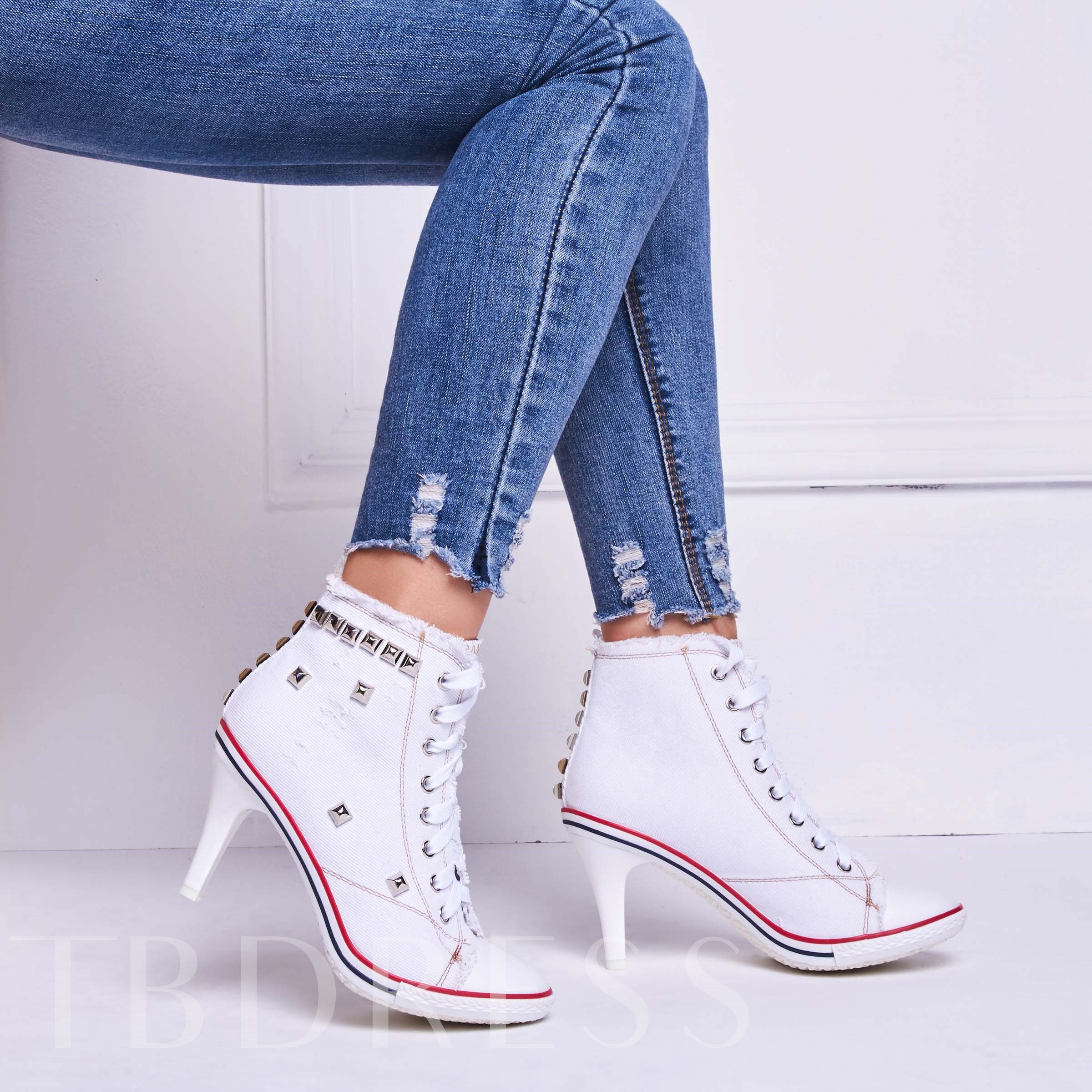 Rivet Plain Lace-Up Front Stiletto Heel Round Toe Ankle Women's Boots