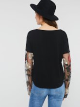 Sheer Floral Embroidery Raglan Sleeve Women's T-Shirt