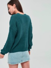 Plain Solid Color Scoop Neck Hollow Women's Sweater