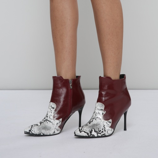 Pointed Toe Side Zipper Serpentine Prints Stylish Women's Ankle Boots