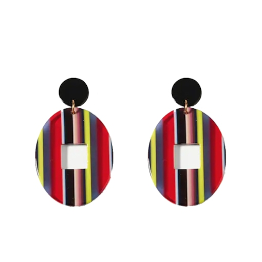 Acrylic Colored Stripe Oval Party Stud Earrings