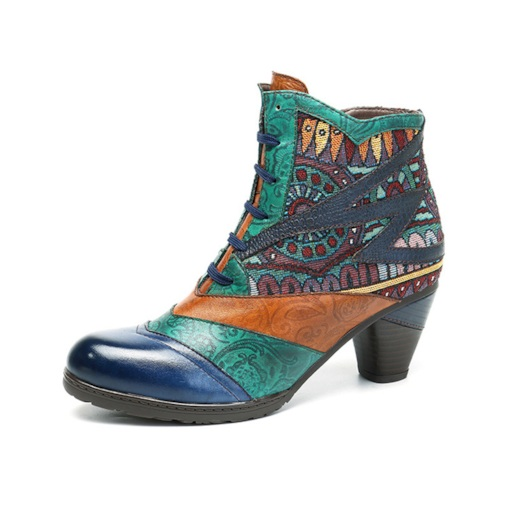 Side Zipper Color Block Round Toe Chunky Heel Vintage Ankle Boots