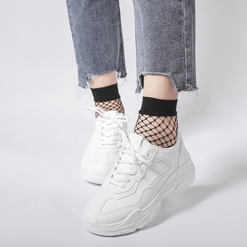Platform Lace-Up Low-Cut Upper Round Toe PU Chic White Sneakers