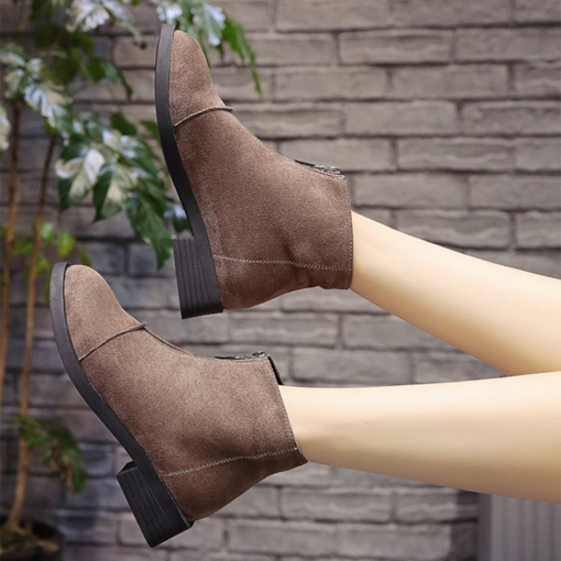 Block Heel Plain Front Zipper Round Toe Suede Comfy Ankle Boots