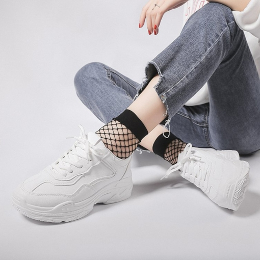 Platform Lace-Up Low-Cut Upper Round Toe PU Chic White Sneakers 6d67a6dd8a29