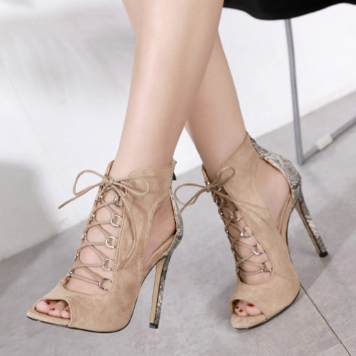 Zipper Peep Toe Stiletto Heel Cross Strap Sexy Women's Sandals