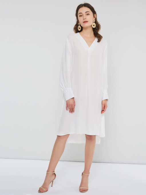 V-Neck Asymmetric Casual Women's Long Sleeve Dress