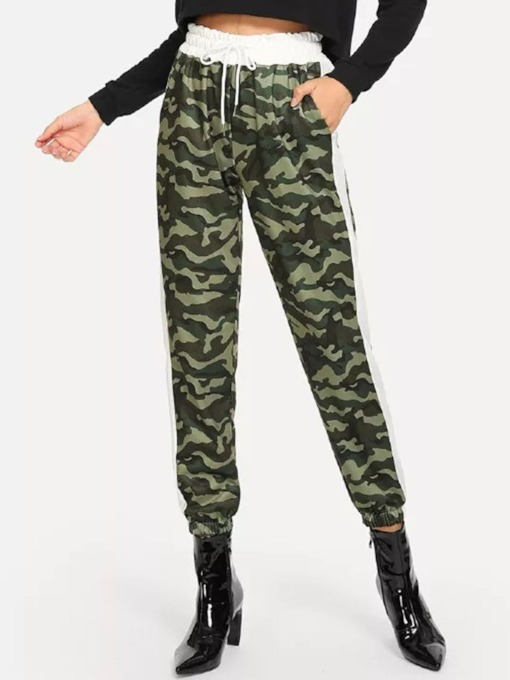 Slim Camouflage Print Full Length Women's Casual Pants