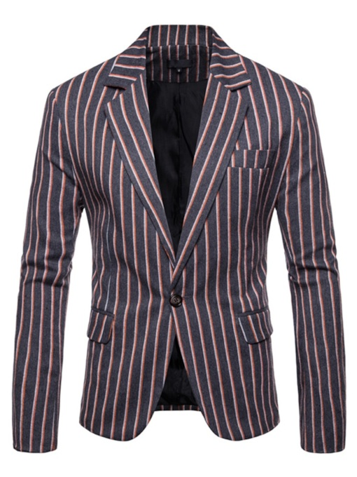 Casual One Button Patchwork Stripe Men's Blazer