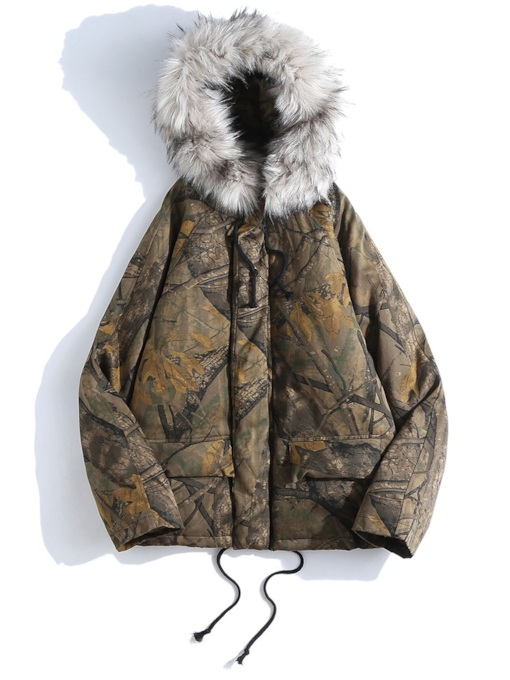 Thick Straight Hooded Print Zipper Men's Down Jacket