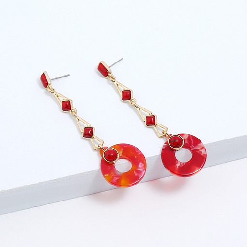 Round Pendant Resin Party Drop Earrings