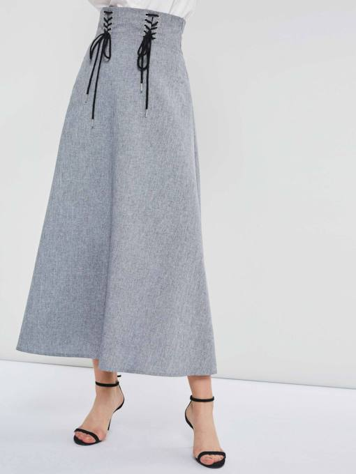 Mid-Calf Bowknot High-Waist A-Line Plain Women's Skirt